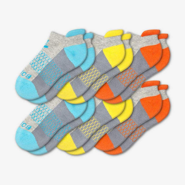 cyan-yellow-orange Youth Ankle Six-Pack