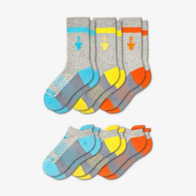 cyan-yellow-orange Youth Calf And Ankle Six-Pack