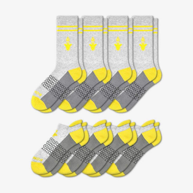 grey-and-canary-yellow Men's Originals Calf And Ankle 8-Pack
