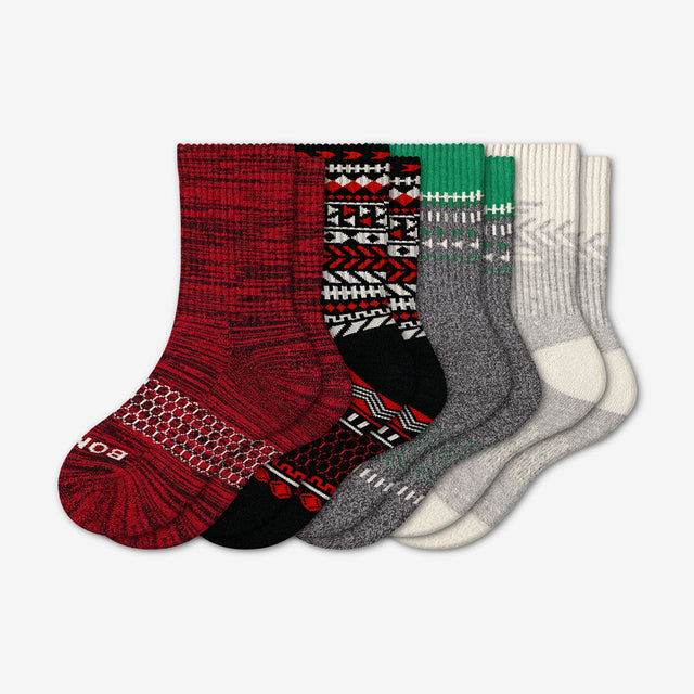 mixed Youth Limited Edition Red & Green Holiday Sock 4-Pack
