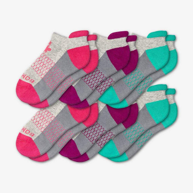 pink-purple-teal Youth Ankle Six-Pack
