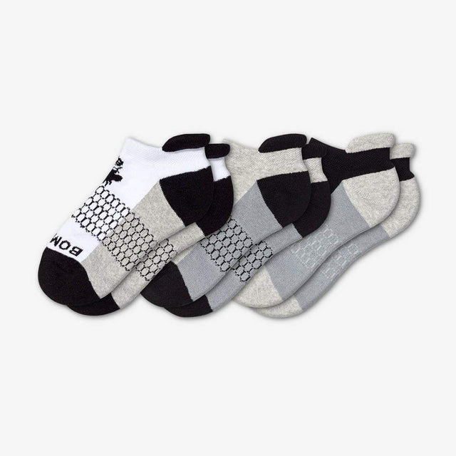 white-grey-black Youth Ankle 3-Pack