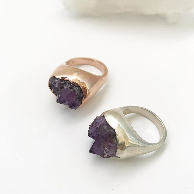 14k Rose Gold Vermeil CLASSIC AMETHYST CLUSTER :: SZ 7.5  :: Signature Collection