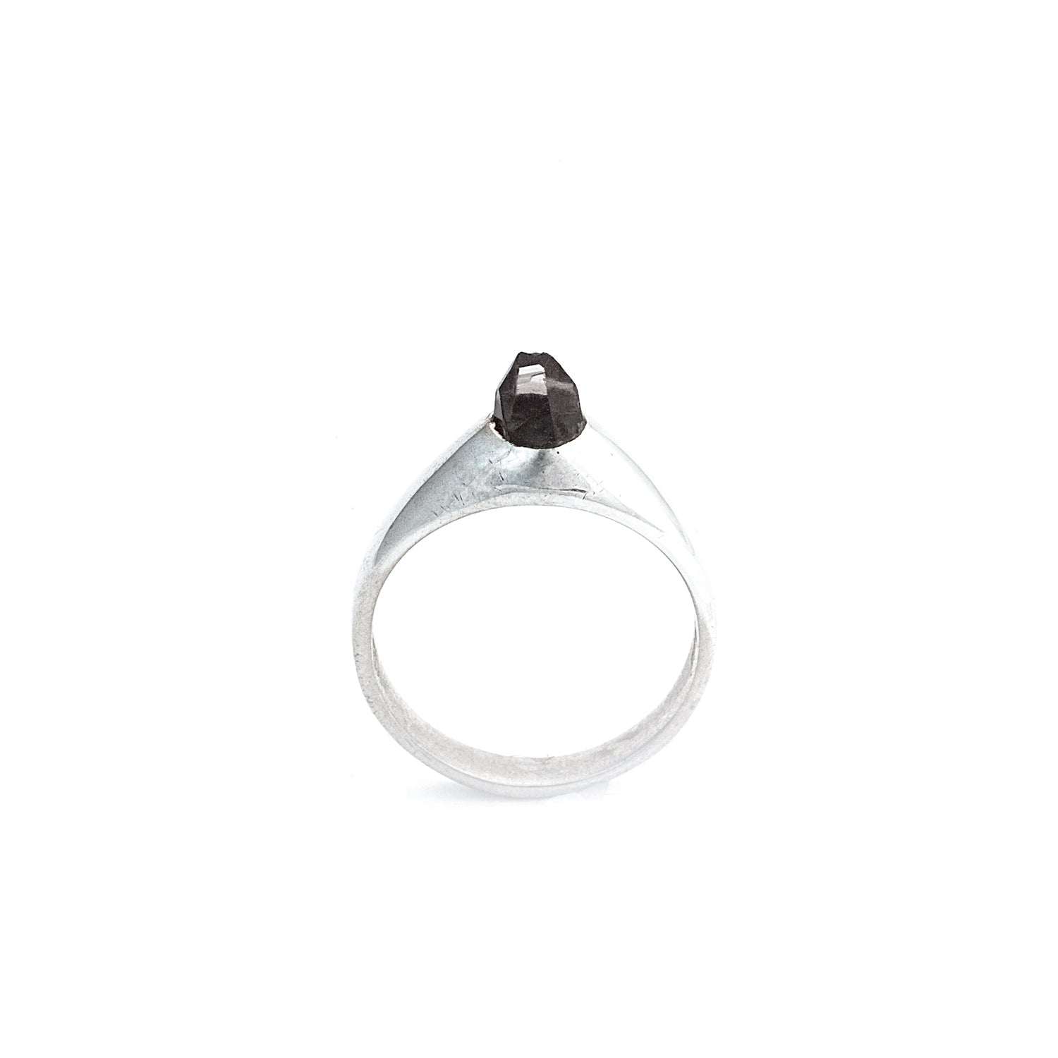 Sterling Silver PETITE Smoky SOLITAIRE :: SZ 5 :: HOLIDAY 2017