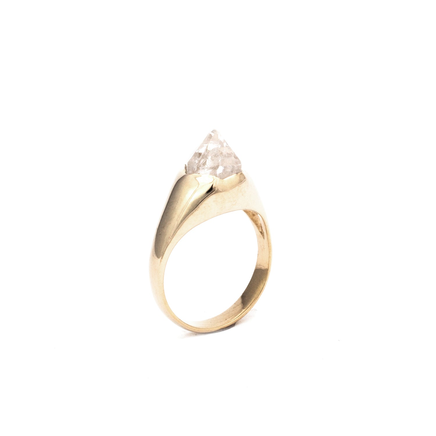 14k SOLID GOLD CLASSIC QUARTZ SOLITAIRE :: SZ 7 :: Signature Collection
