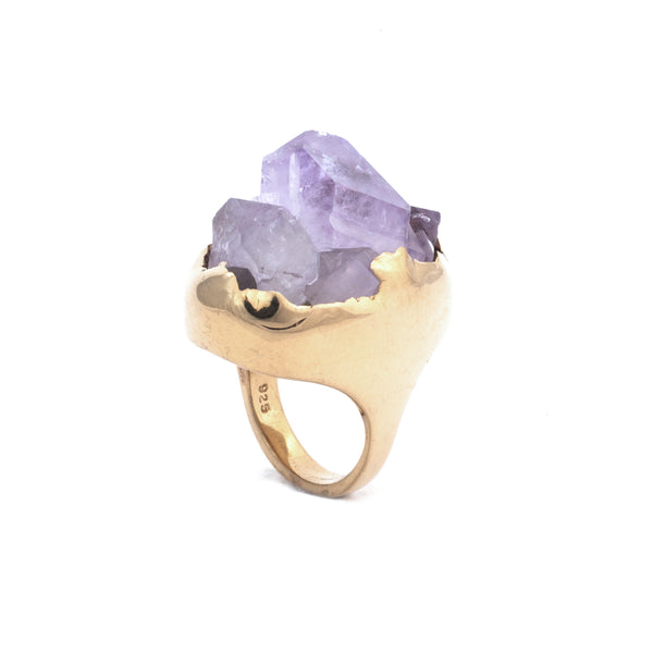 14k Gold Vermeil GRAND AMETHYST CLUSTER :: SZ 7  :: Signature Collection