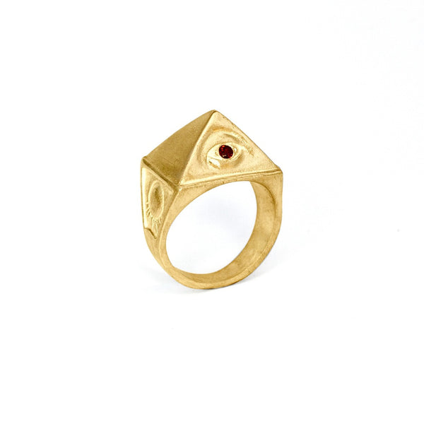 14k Gold Vermeil & Garnet THELEMA RING   :: Signature Collection