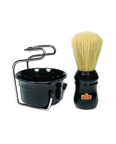 OMEGA PROFESSIONAL BRUSH SET INCLUDES STAND AND BOWL - The Shaving Kit