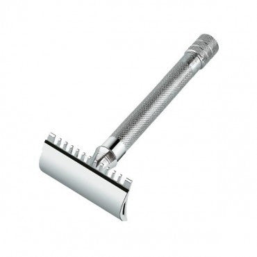 Merkur Double Edge Safety Razor, Open Tooth Comb, Extra Long Handle, Chrome - The Shaving Kit