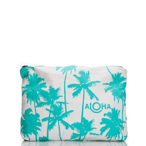 Mid Coco Palms Pouch in Ocean