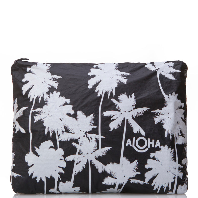 MAX Coco Palms Pouch in White on Black