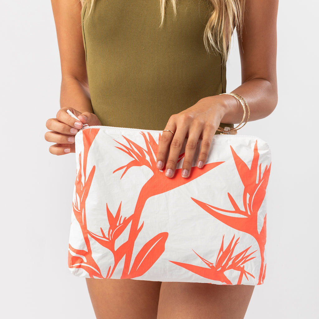 Mid Birds In Paradise Pouch in Neon Coral