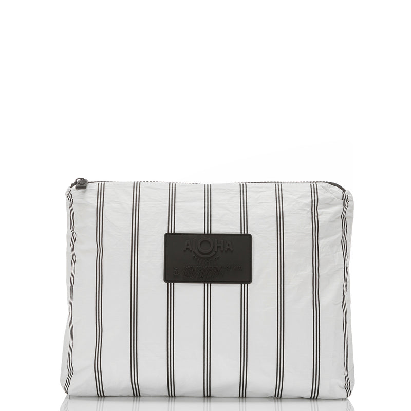 MAX Pinstripe Pouch in White on Black