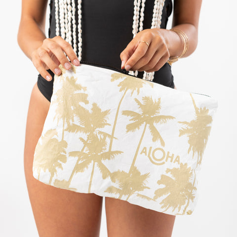 Mid Coco Palms Pouch in Sand