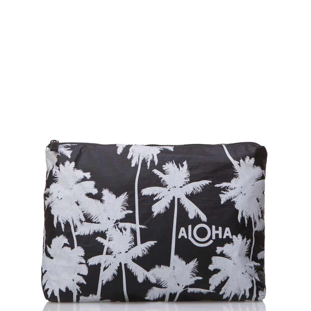 Mid Coco Palms Pouch in White on Black