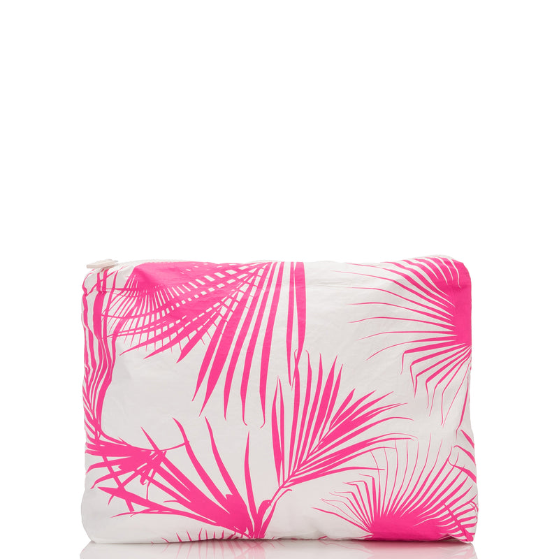 Small Day Palms Pouch in Neon Pink