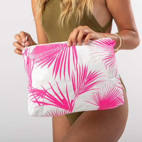 Mid Day Palms Pouch in Neon Pink