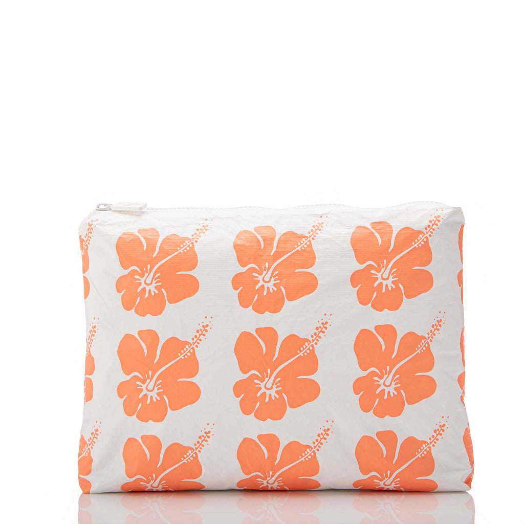 Mid Hibiscus Bloom Pouch in Creamsicle