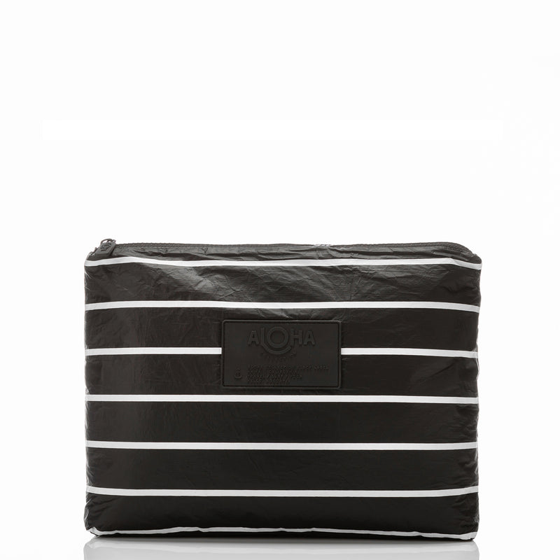 Mid Pinstripe Pouch in White on Black