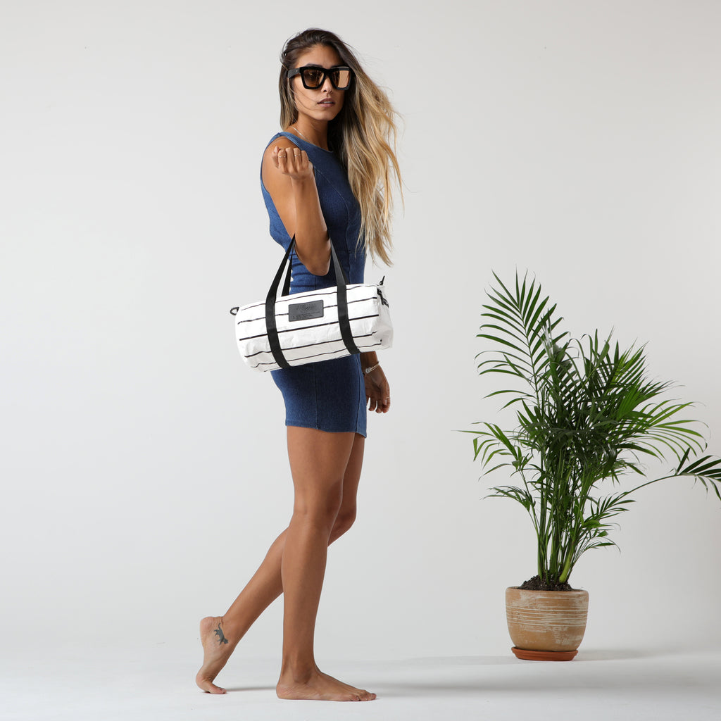 Pinstripe Mini Duffle is the perfect bag to get you from the gym to lunch.