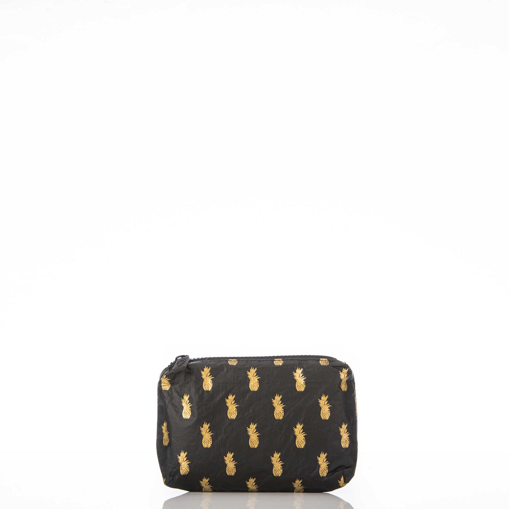 Mini Black Pineapple Royale Pouch in Gold