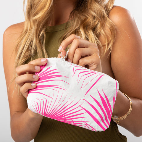 Mini Day Palms Pouch in Neon Pink