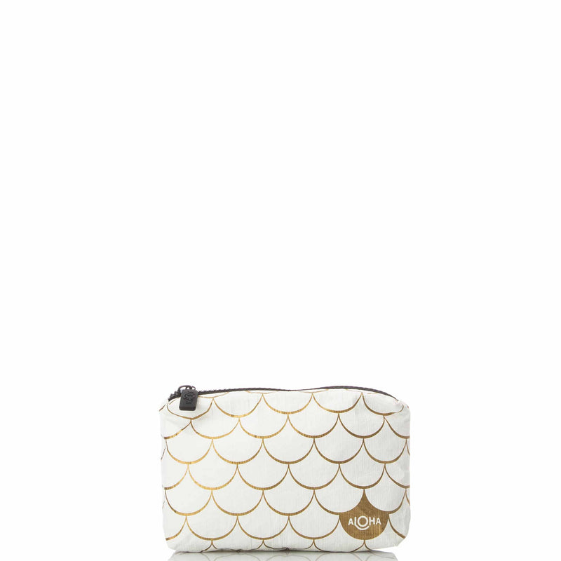Mini White Mermaid Pouch in Gold
