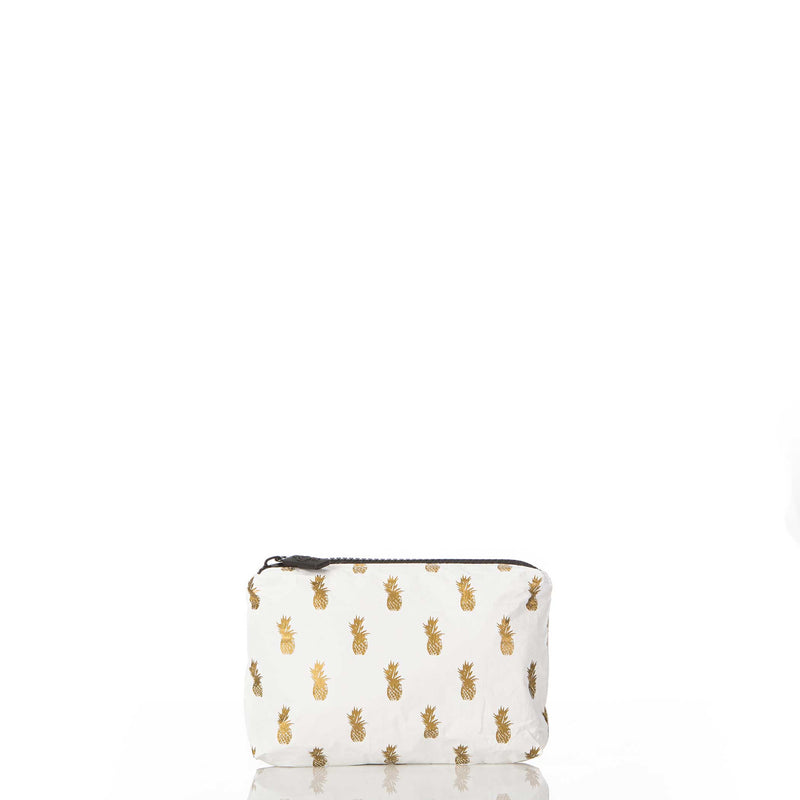 Mini White Pineapple Royale Pouch in Gold