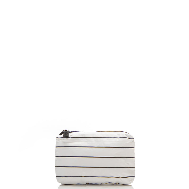 Pinstripe Zipper Tote in White on Black