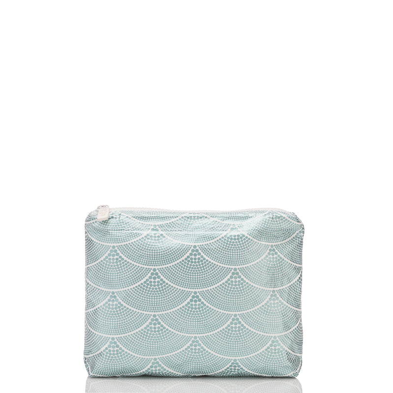 Small Art Deco Mermaids Pouch in Metallic Teal