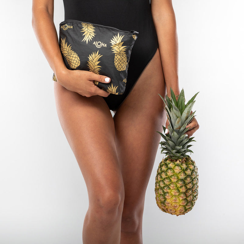 Small Black Pineapple Fields Pouch