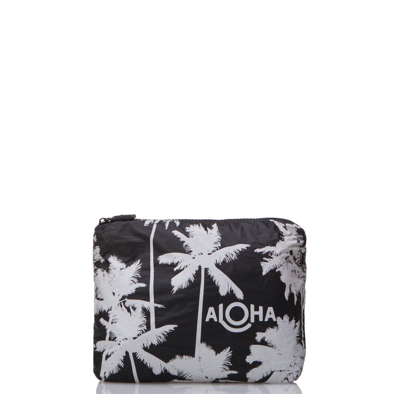 Small Coco Palms Pouch in White on Black