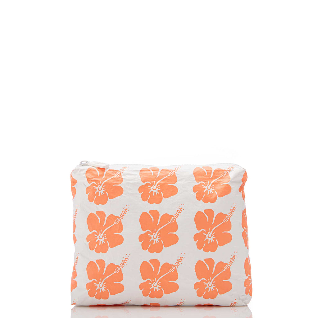 Small Hibiscus Bloom Pouch in Creamsicle