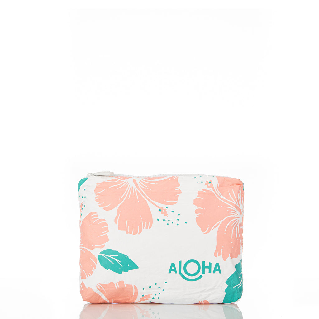 Small Hibiscus Pouch in Guava