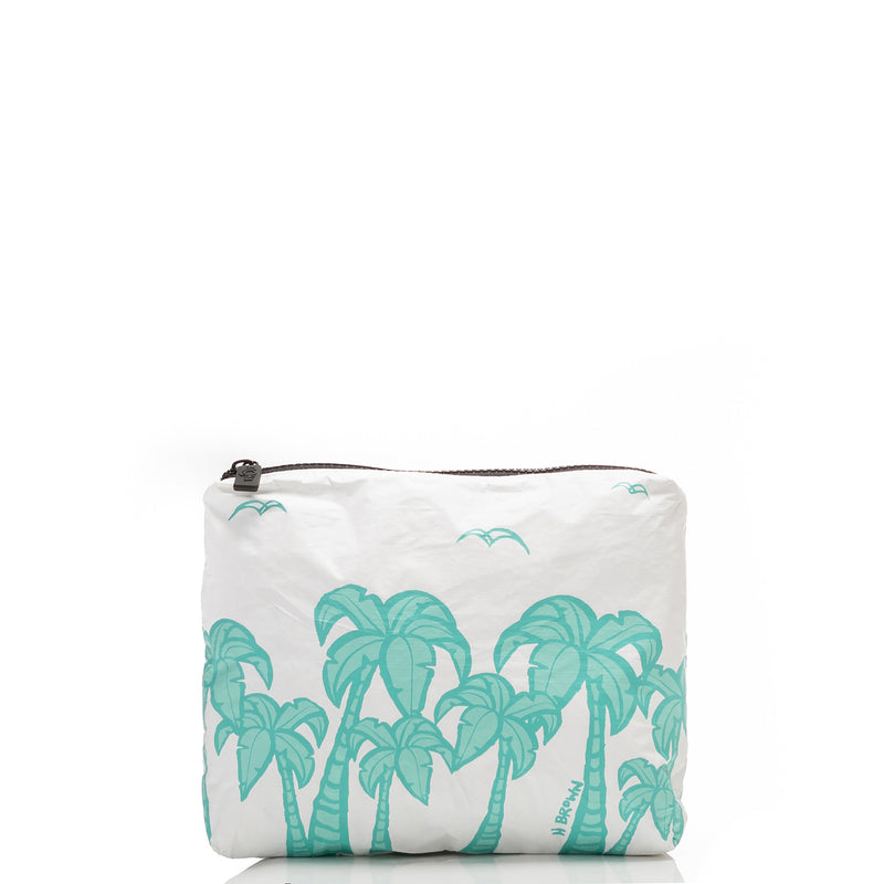 Small Tropical Fan Palms Pouch in Ocean
