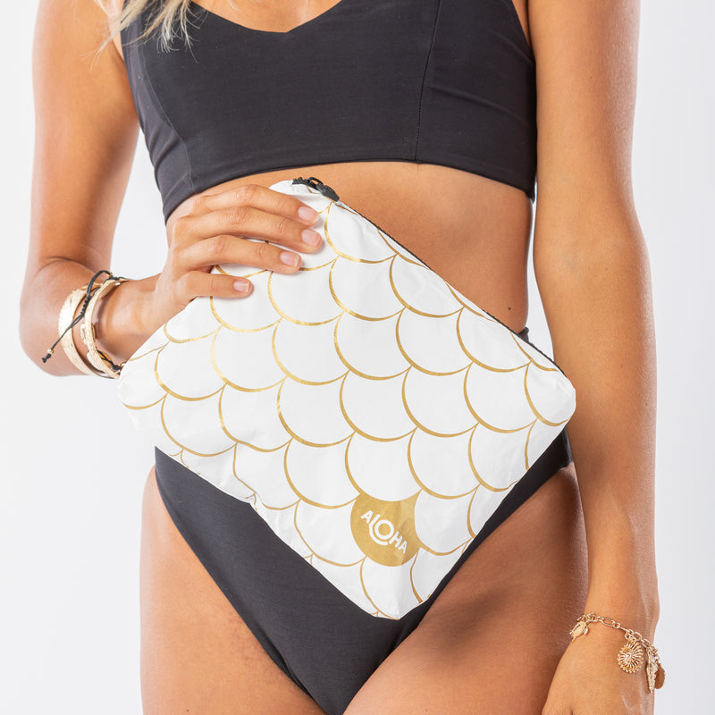 Small White Mermaid Pouch in Gold