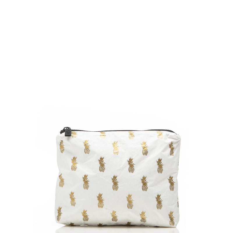 Small White Pineapple Royale Pouch in Gold