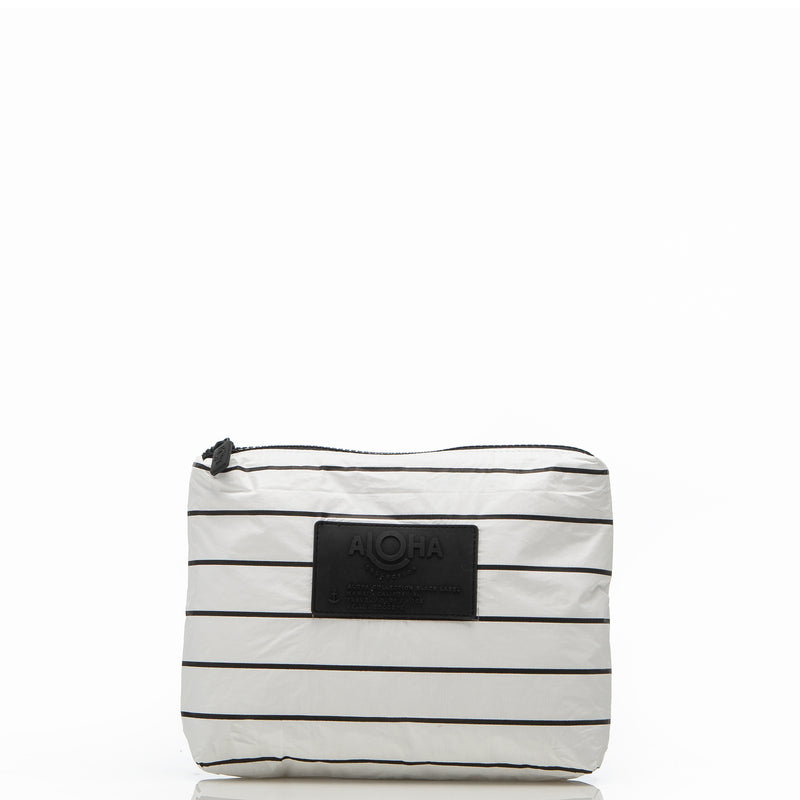 Mini Pinstripe Pouch in White on Black