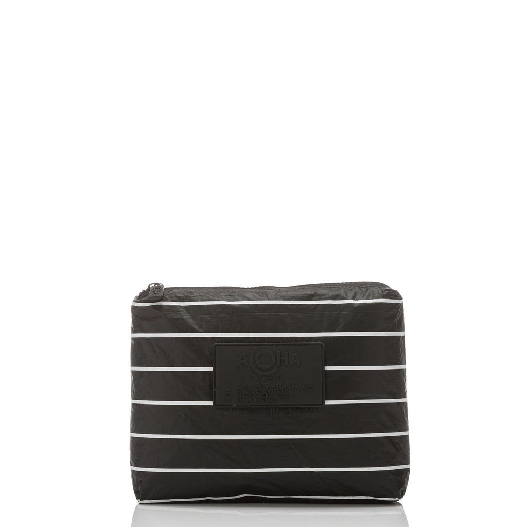 Small Pinstripe Pouch in White on Black