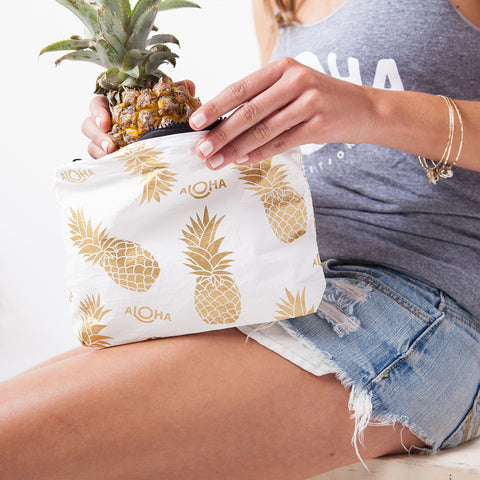 small white Pineapple Fields, gold print