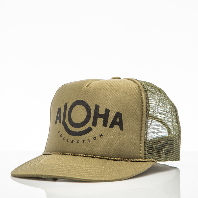 ALOHA Trucker Hat in Khaki Green