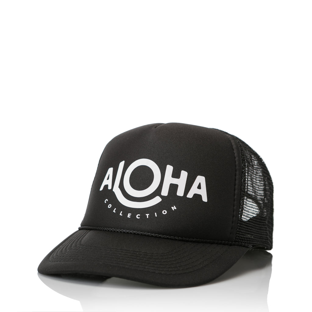 ALOHA Trucker Hat in Black