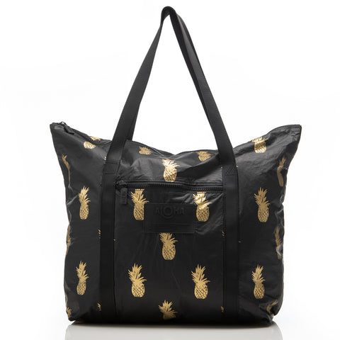 Pineapple Royale Zipper Tote in Gold