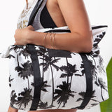 Coco Palms Zipper Tote in Black