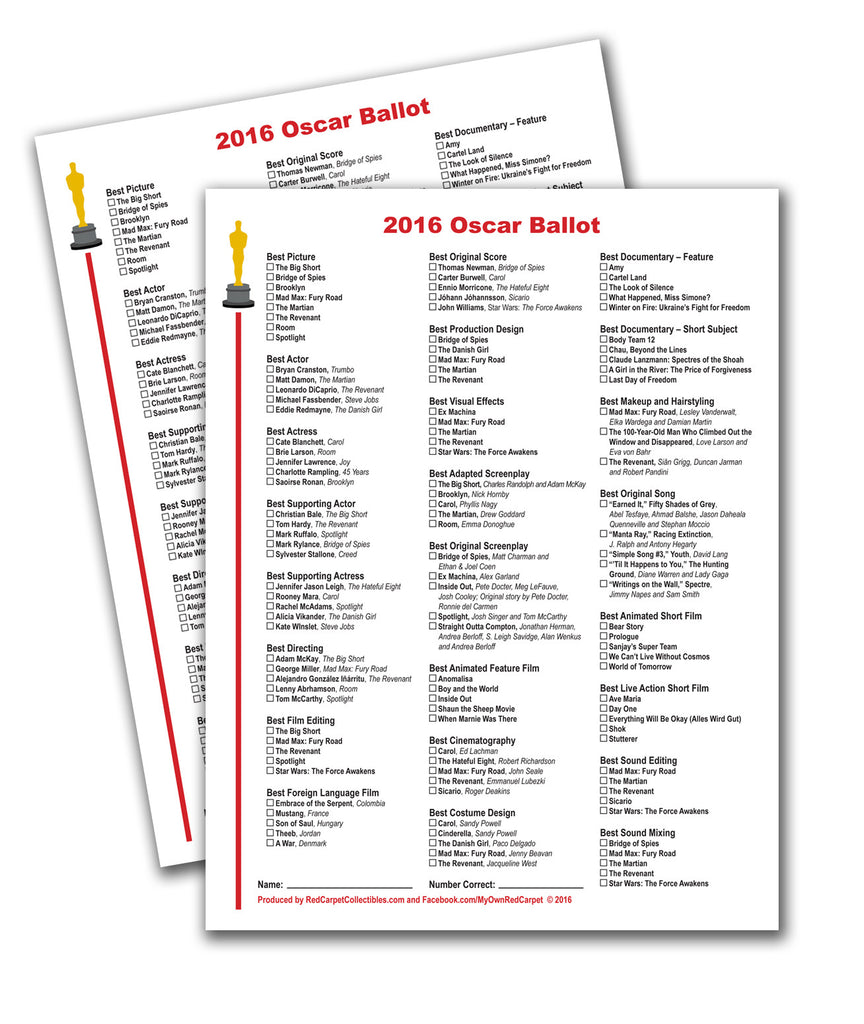 photograph about Oscar Ballots Printable identify Totally free Printable 2016 Oscar Ballot Pink Carpet Collectibles