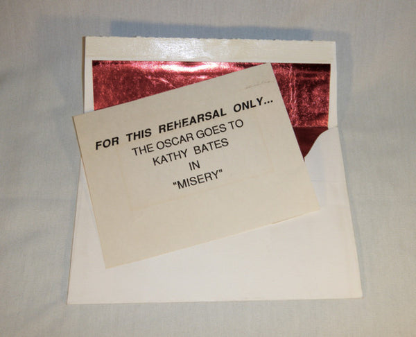 Academy Awards Rehearsal Winner's Envelope