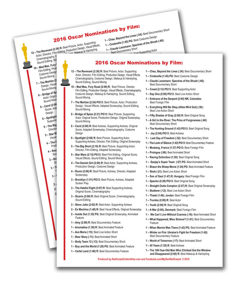 "FREE Printable ""2016 Nominations by Film"" Guide"
