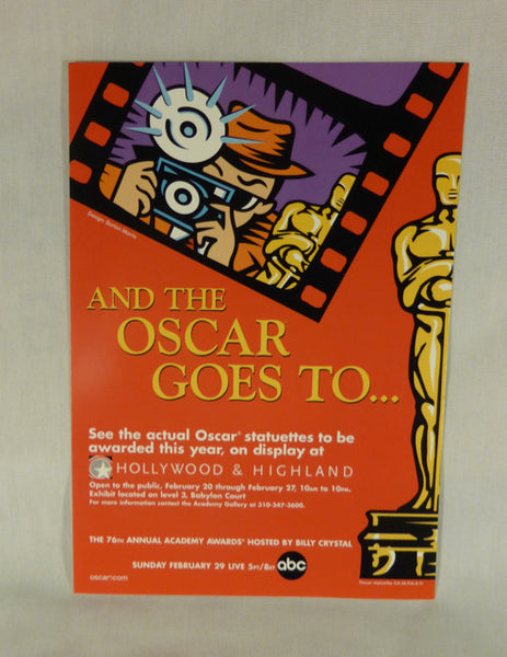 Postcard Ad for 76th Annual Academy Awards Statuettes on Display