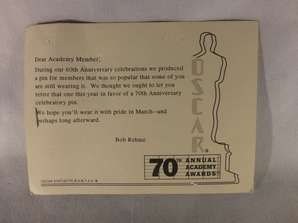 "Oscar ""70"" Lapel Pin and Postcard"