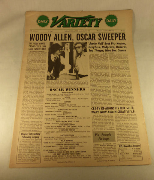 "Variety Magazine, ""Woody Allen, Oscar Sweeper"" April 4, 1978"